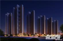 紫荆澜庭小区沿街夜景图